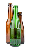 Green and brown empty bottles