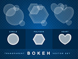 Set of transparent bokeh forms effect