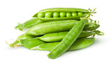 Pile of fresh green peas in the pods