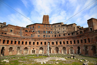 A panoramic view on Trajan's Market (Mercati Traianei) in Rome,