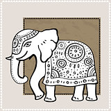 Elephant. Indian style. Decorative Vector illustration.