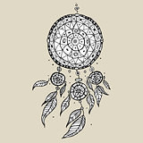 Dream Catcher. Decorative Vector illustration.