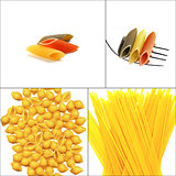 various type of Italian pasta collage