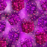 Festive background with gifts, bokeh