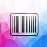 Barcode icon on colorful polygonal background