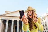 Closeup of digital camera and woman taking selfie at Pantheon