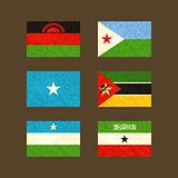Flags of Malawi, Djibouti, Somalia, Mozambique, Puntland and Somaliland