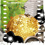 Gold disco ball on green background