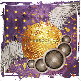 Grunge gold disco ball with wings