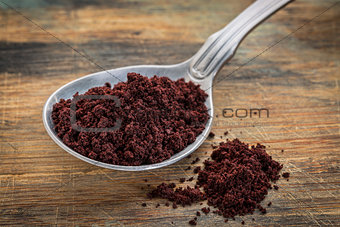 acai berry powder on tablespoon