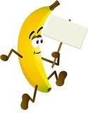 Banana holding blank signboard