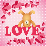 Love teddy bear on a background