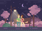 Kissing Couple on a Park Bench at Night