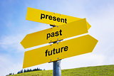 Present, past, future arrow signs