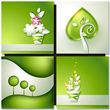 Card with abstract green paper backgrounds