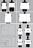 people holding blank poster templates, vector set