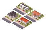 Vector isometric houses set