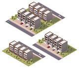 Vector isometric townhouses set