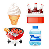 Summer Picnic Food Icons Set