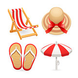 Beach Accessories Icons Set