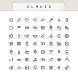 Summer and Vacation Stroke Icons Set