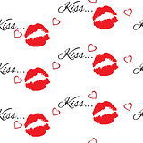 Seamless pattern with red color lips