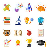 Online Education Flat Icon Set