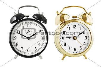 Alarm clocks set isolated