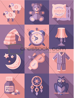 Sleep Time Icons Flat Vector Illustration
