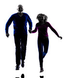 couple senior running jumping happy  silhouette
