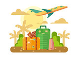 Summer Vacation, Travel flat illustration.