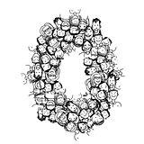Number zero, people crowd, vector alphabet design
