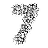 Number seven, people crowd, vector alphabet design