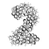 Number two, people crowd, vector alphabet design