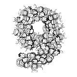 Number nine, people crowd, vector alphabet design