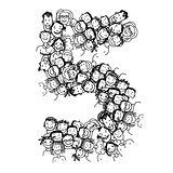 Number five, people crowd, vector alphabet design