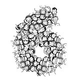 Number six, people crowd, vector alphabet design