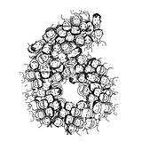 Number six, people crowd, vector alphabet design