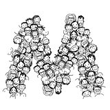 Letter M, people crowd, vector alphabet design