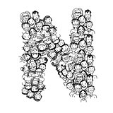 Letter N, people crowd, vector alphabet design