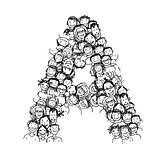 Letter A, people crowd, vector alphabet design