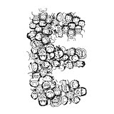Letter E, people crowd, vector alphabet design