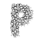 Letter P, people crowd, vector alphabet design