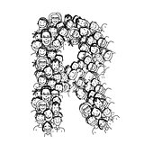 Letter R, people crowd, vector alphabet design
