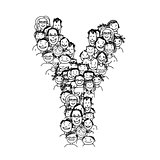 Letter Y, people crowd, vector alphabet design