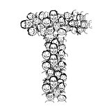 Letter T, people crowd, vector alphabet design