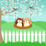 Couple owls on swing