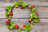 Wreath of fresh strawberries.