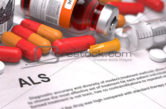 ALS Diagnosis. Medical Concept. Composition of Medicaments.