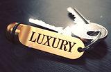 Luxury written on Golden Keyring.